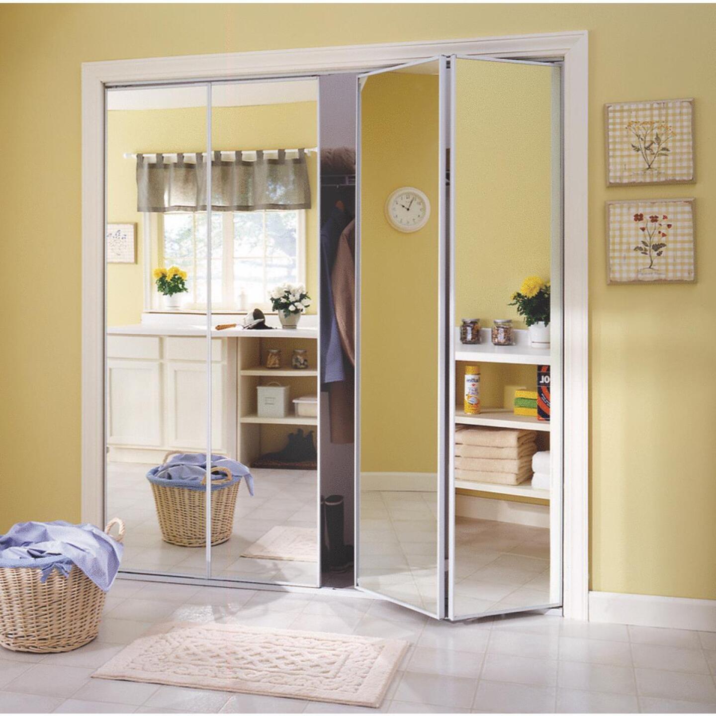 Erias Series 4400 24 In. W. x 80-1/2 In. H. Steel Frame Mirrored White Bifold Door Image 2