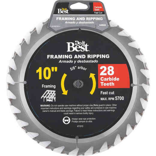 Do it Best 10 In. 28-Tooth Framing & Ripping Circular Saw Blade