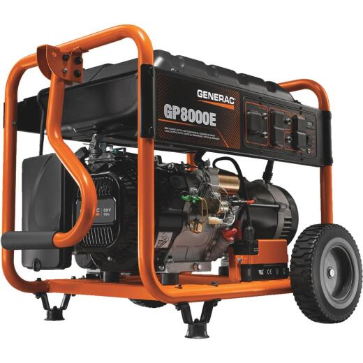 Generac 8000W Gasoline Powered Portable Generator with Electric Start