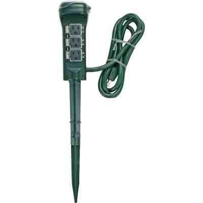 Prime 15A 125V 1875W Green Outdoor Timer Power Stake