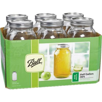 Ball 1/2 Gal. Wide Mouth Mason Canning Jar (6-Count)