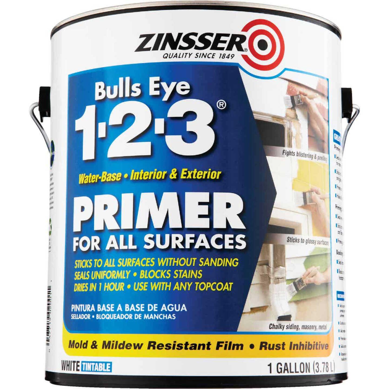 Zinsser Bulls Eye 1-2-3 Water-Base Interior/Exterior Stain Blocking Primer, White, 1 Gal. Image 3