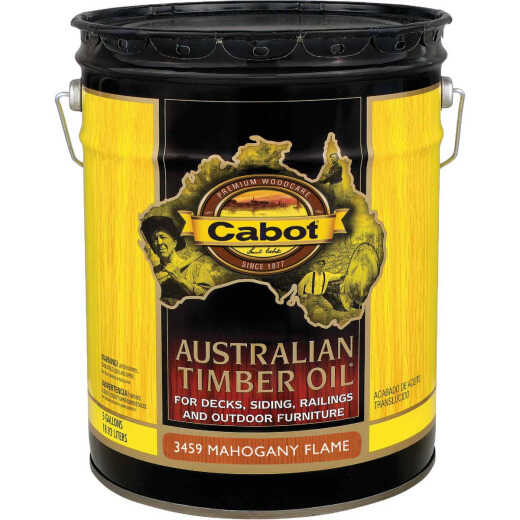 Cabot Australian Timber Oil Translucent Exterior Oil Finish, Mahogany Flame, 5 Gal.