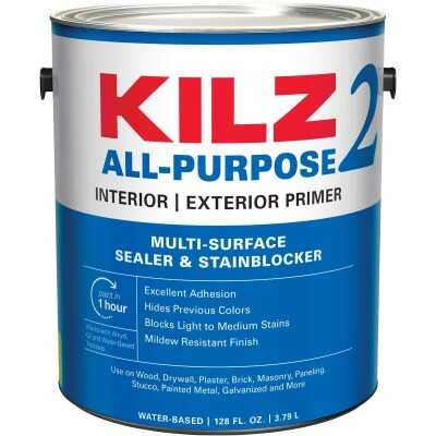 KILZ 2 Latex Interior/Exterior Sealer Stain Blocking Primer, White, 1 Gal.